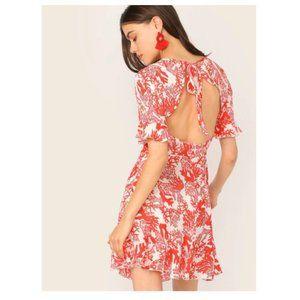 NWOT Coral Print Tie Backless Ruffle Trim Dress